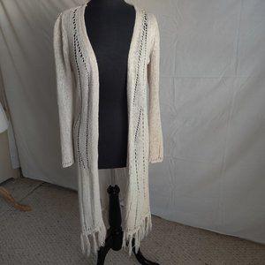 Chico's Women's Cream Crochet Long Cardigan